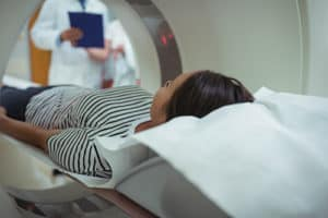 Patient getting a PET scan